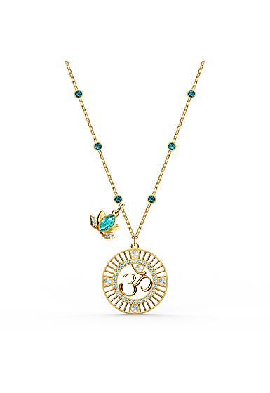 Swarovski Necklace Symbol Pendant Lotus Ohm Light Multi Gold