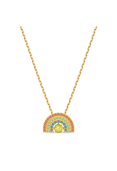 Swarovski Necklace Sparkling Dance Necklace Rainbow Light Multi Gold