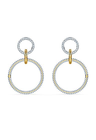 Swarovski Stone Pierced Earrings Hoop Crystal Mix