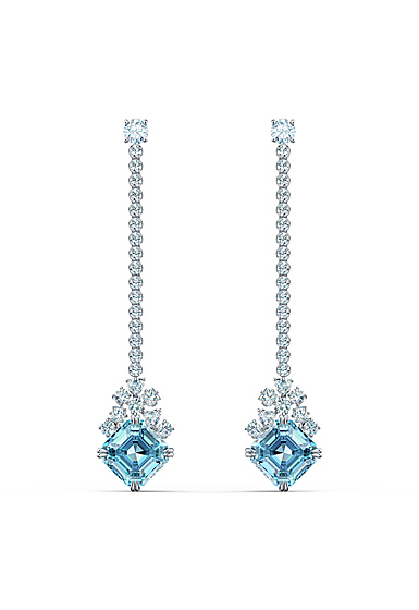 Swarovski Sparkling Pierced Earrings Chain Aqua Rhodium Silver
