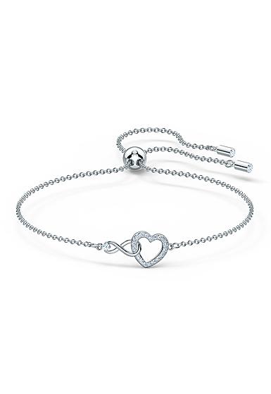 Swarovski Rhodium Silver and Crystal Infinity Heart Bracelet