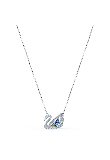 Swarovski Necklace Dancing Swan Necklace Crystal Fuschia Rhodium Silver