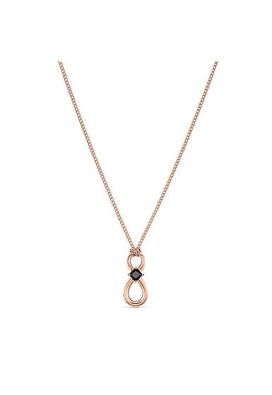 Swarovski Men's Necklace Infinity Pendant 1 Jet Rose Gold
