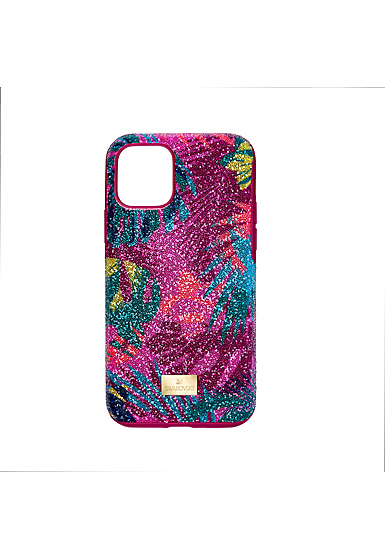 Swarovski Mobile Phone Case Tropical iPhone 11 Pro Case Multi Stainless Steel Shiny Gold