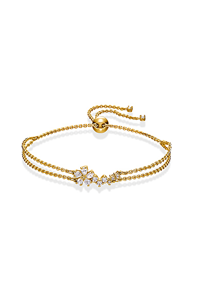 Swarovski Gold and Crystal Botanical Flowers Bracelet