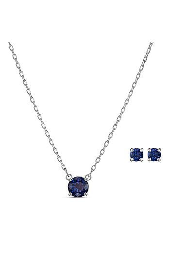 Swarovski Crystal and Rhodium Attract Blue Round Set, Silver Anniversary Edition