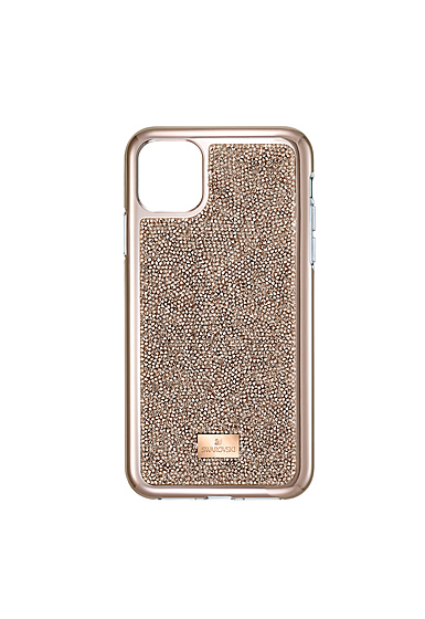 Swarovski Mobile Phone Case Glam Rock iPhone 11 Pro Max Case Rose Gold Stainless Steel Shiny Pro