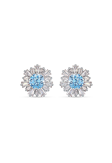 Swarovski Sunshine Pierced Earrings Stud Crystal Light Blue and Rhodium Silver