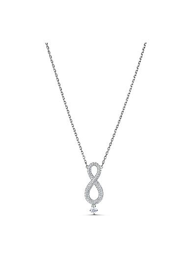 Swarovski Necklace Infinity Necklace Long Crystal Rhodium Silver
