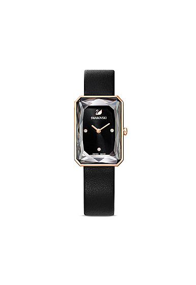 Swarovski Uptown Watch, Leather Strap, Black, Rose Gold Tone