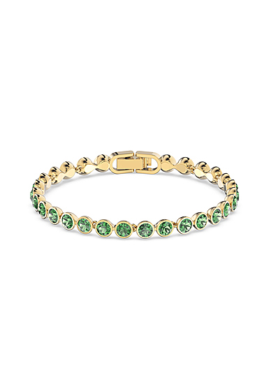 Swarovski Tennis Bracelet, Green, Gold Tone Plated