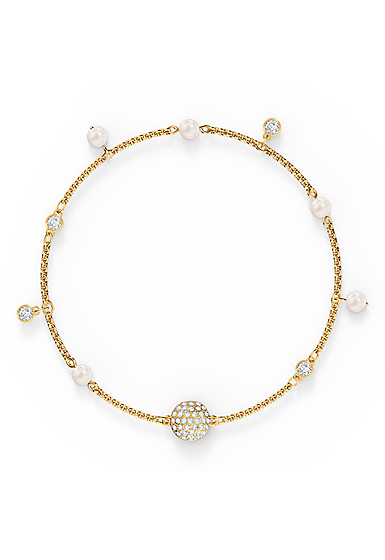 Swarovski Remix Bracelet Delicate Pearl Strand, White, Gold Tone Plated