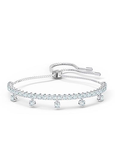 Swarovski Subtle Drops Bracelet, White, Rhodium Plated