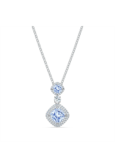 Swarovski Angelic Round Pendant Necklace, White, Rhodium Plated