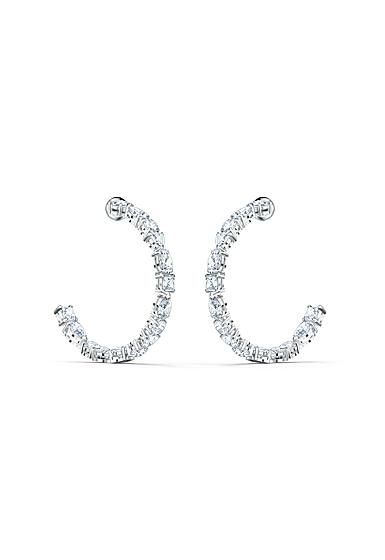 Swarovski Tennis Deluxe Mixed Hoop Pierced Earrings, White, Rhodium Plated