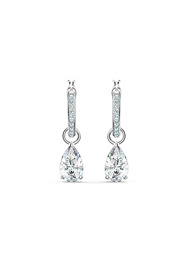 Swarovski Attract Pear Mini Hoop Pierced Earrings, White, Rhodium Plated