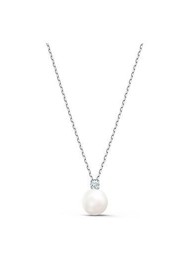 Swarovski Treasure Pearl Necklace, White, Rhodium Plated