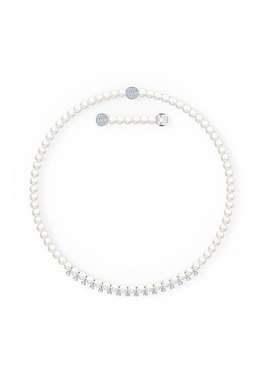 Swarovski Treasure Pearls Necklace, White, Rhodium Plated