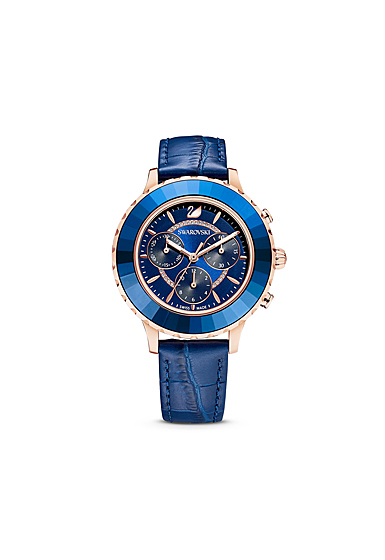 Swarovski Octea Lux Chrono Watch, Leather Strap, Blue, Rose Gold Tone