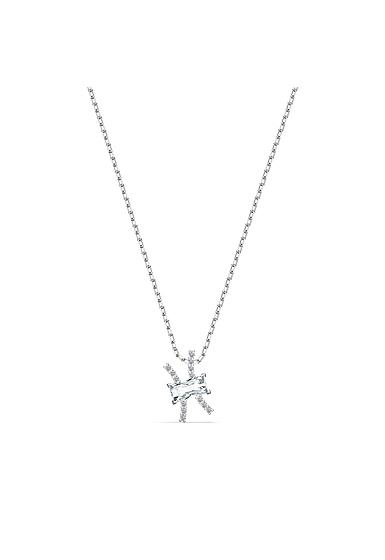 Swarovski Zodiac Pendant Necklace, Pisces, White, Mixed Metal Finish
