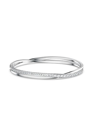 Swarovski Rhodium and Crystal Twist Rows Bracelet