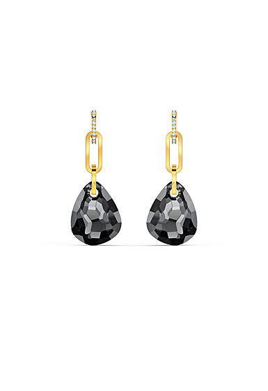 Swarovski T Bar Pierced Earrings, Medium, Gray, Gold Tone Plated