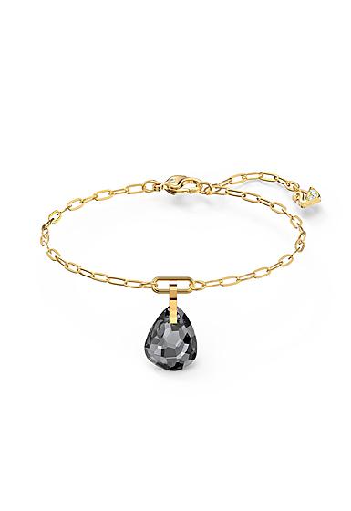Swarovski T Bar Bracelet, Gray, Gold Tone Plated