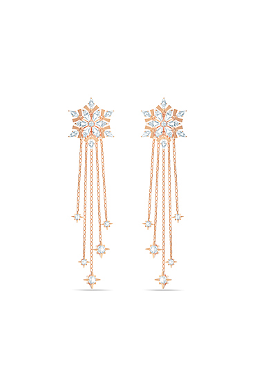 Swarovski Magic Pierced Earrings, White, Rose Gold Tone Plated