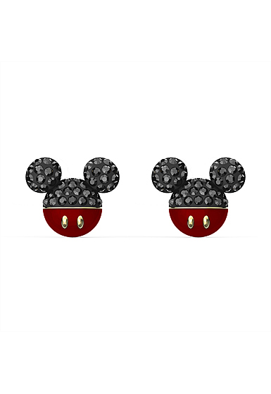 Swarovski Disney Mickey Pierced Earrings, Black, Gold Tone Plated
