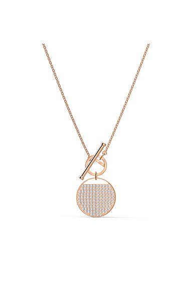 Swarovski Ginger T Bar Necklace, White, Rose Gold Tone Plated