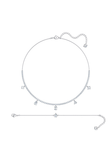 Swarovski Tennis Deluxe Mixed Necklace and Bracelet Set, White, Rhodium Plated