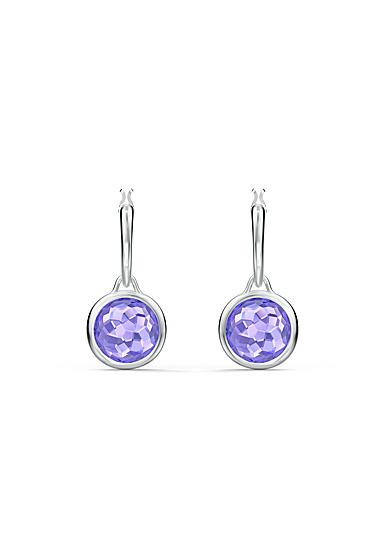 Swarovski Tahlia Mini Hoop Pierced Earrings, Purple, Rhodium Plated