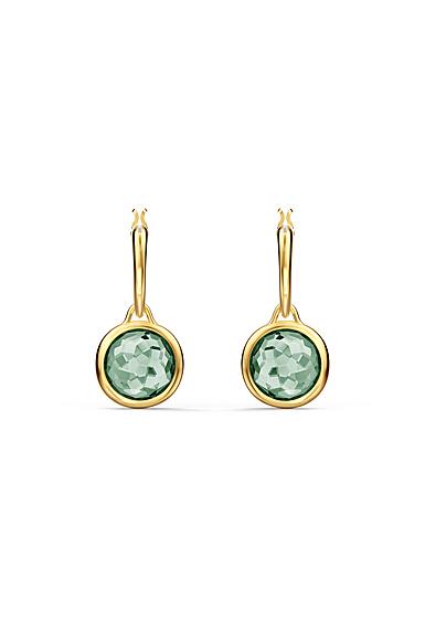 Swarovski Tahlia Mini Hoop Pierced Earrings, Green, Gold Tone Plated
