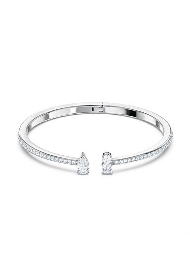 Swarovski Attract Cuff Bracelet, White, Rhodium Plated