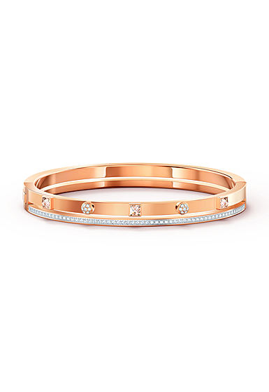 Swarovski Thrilling Bangle Bracelet, White, Rose Gold Tone Plated