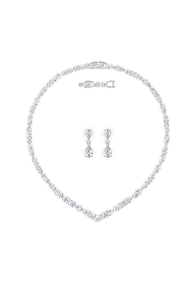 Swarovski Tennis Deluxe V Mixed Necklace and Earrings Set, White, Rhodium Plated