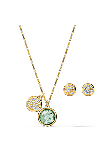 Swarovski Tahlia Necklace and Earrings Set, Green, Gold Tone Plated