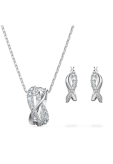Swarovski Twist Necklace and Earrings Set, White, Rhodium Plated