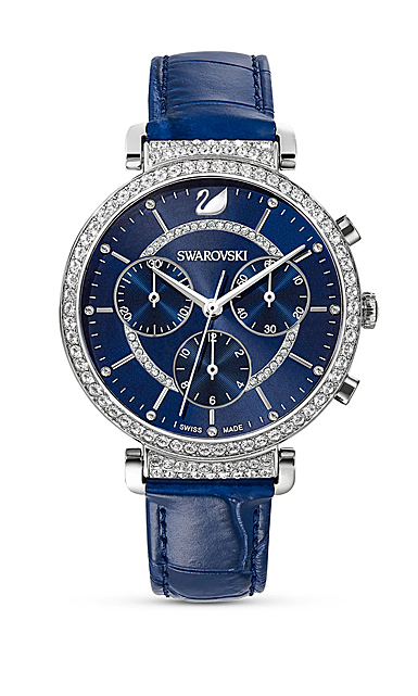 Swarovski Watch Passage Chrono Stainless Case Blue Sunray Dial Leater Strap