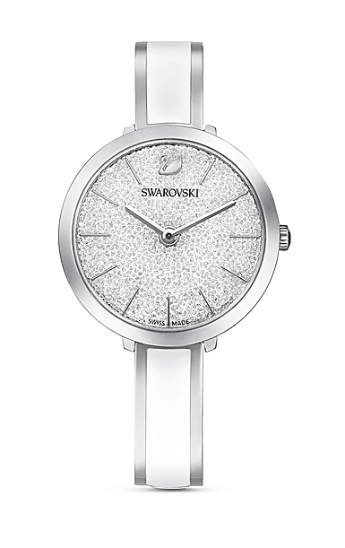 Swarovski Watch Crystalline Stainless Steel Clear Crystal Stainless Bangle with White Enamel