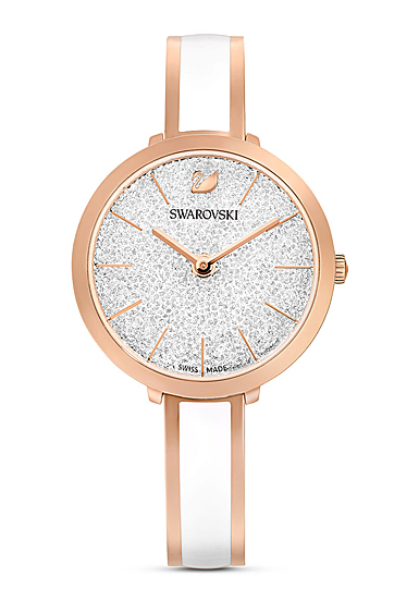 Swarovski Watch Crystalline Stainless Steel Clear Crystal Rose Gold Stainless Bangle with White Enamel