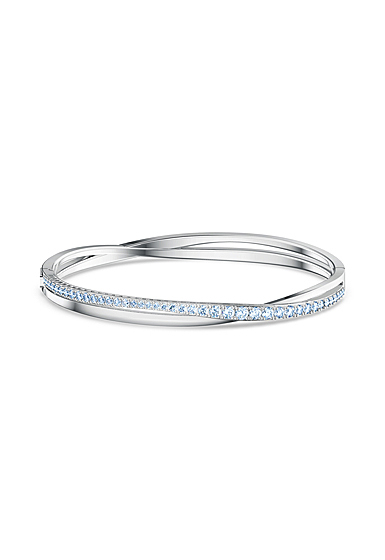 Swarovski Twist Rows Bracelet, Blue, Rhodium Plated