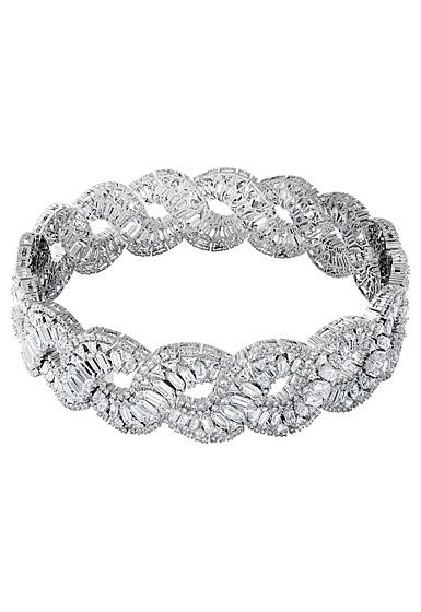 Swarovski Hyperbola Choker Necklace , Wave, White, Rhodium Plated
