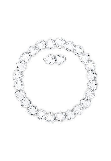 Swarovski Millenia Necklace, Triangle, White, Rhodium Plated