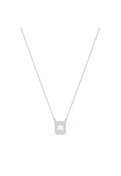 Swarovski Millenia Necklace, Square Swarovski Zirconia, White, Rhodium Plated