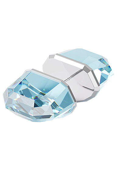 Swarovski Lucent Stud Earring Single, Blue, Rhodium Plated