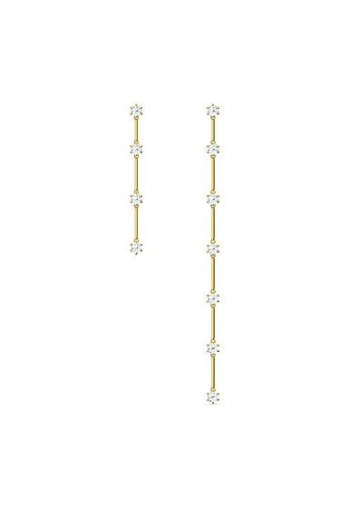 Swarovski Constella Earrings, Asymmetrical, White, Gold-Tone Plated, Set