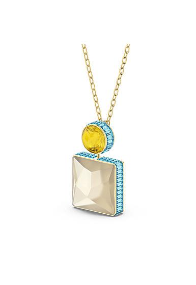 Swarovski Orbita Necklace, Square Cut Crystal, Multicolored, Gold-Tone Plated