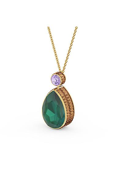 Swarovski Orbita Necklace, Drop Cut Crystal, Multicolored, Gold-Tone Plated