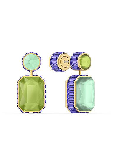 Swarovski Orbita Earrings, Asymmetrical, Octagon Cut Crystal, Multicolored, Gold-Tone Plated, Set